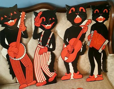 Just Back! 4 Vintage-1950S-Style-Beistle Halloween Black��Scat Cat Band Diecuts!