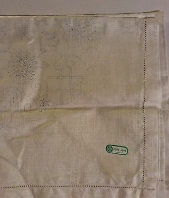 "Vintage Irish Linen Transfer Printed Tablecloth Ready to Embroider 42""x42"""
