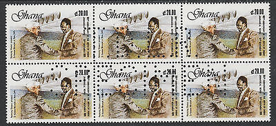 Ghana (2361) - 1990 NEHRU 20c block with DLR SPECIMEN perfin unmounted mint