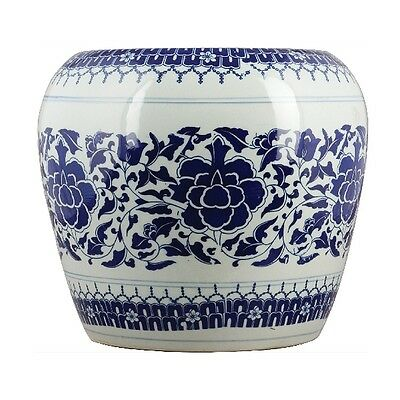 Porcelain Garden Stool Blue White Floral Asian Chinese Ceramic Oriental Danny