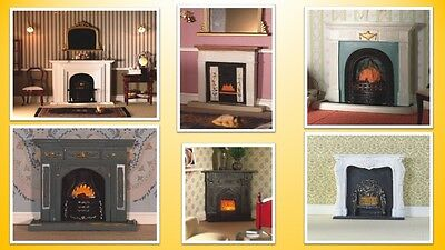 1:12 scale dolls house miniature D.H.E. resin fireplaces 6 to choose from.