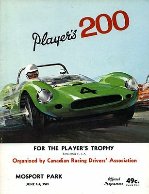 1963 Chuck Daigh Lotus 19 Wins Player's 200 Mosport Road Race Program
