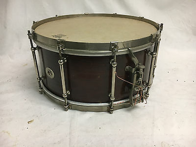 "Vintage Ludwig Nickel Plated Tube Lug Mahogany Snare Drum 1920's 6.5"" X 14"""