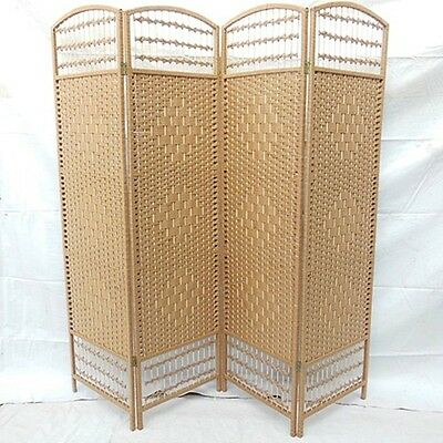 1X Natural Color Knitted Room Divider 4 Panels Folding Screen