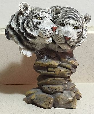"""Stone Critter Siberian Tigers Figurine Handcrafted Stone 6"""" High Mint"""