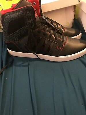ADIDAS bbneo Athletic SHOES black patent leather red Mens SIZE 13
