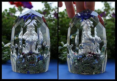 RARE Vintage Sulfide Santa Elf Faceted Tall Paperweight Crystal Glass Antique