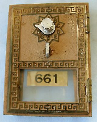 Vintage Brass Post Office Mail Box Door U.s. Mail Glass Front No Combination