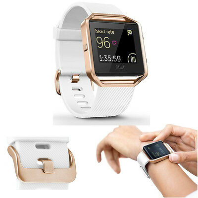 Fitbit Blaze Silicone Replacement Band and Stainless Steel Frame Large Rose Gold