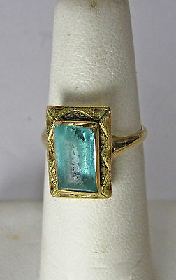 Antique 14K Yellow Gold Blue Topaz Gemstone Ring Size 4 Small