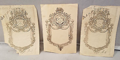 Rare 3 Different 19th C College Bookplates After Nathaniel Hurd NO Reserve