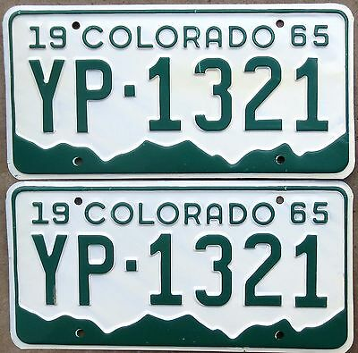 1965 Colorado License Plate Number Tag PAIR Plates