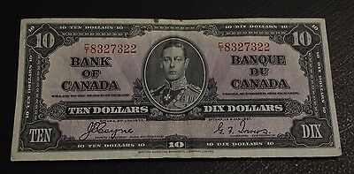 1937 $10 Bank of Canada C/T Coyne Towers BC-24c VF