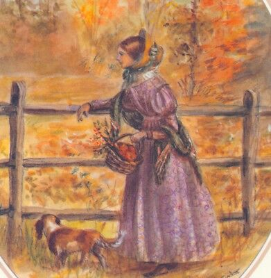 Mint ! Tasha Tudor..from Emily Dickinson Book,autumn Lady,dog,greeting Note Card