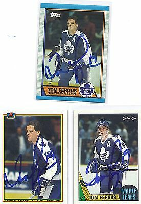 1989 TOPSS #103 Tom Fergus Toronto Maple Leafs Autographed Hockey Card