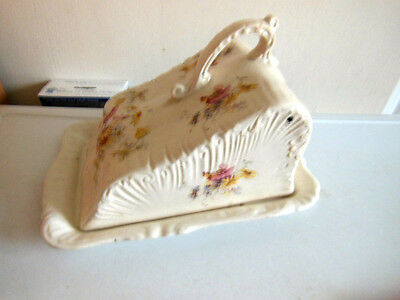 Antique Victorian Large Cheese Dish/plate & Cover/floral Patterned