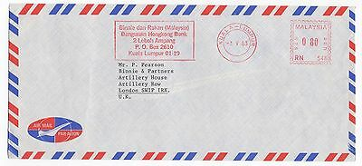 1983 MALAYSIA Air Mail Cover KUALA LUMPUR To LONDON Meter Mail COMMERCIAL