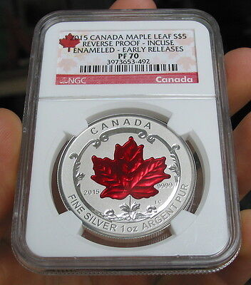 2015 Canada Silver $5 Maple Leaf Reverse Proof Incuse Enameled 1 oz NGC PF 70 ER