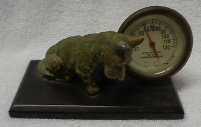 Scotty Scottie  Dog  Brass Image And Rochester Thermometer