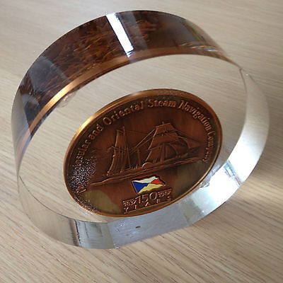 P & O Shipping Line 150 YEARS COMMEMERATIVE 1837 -1987 MEDALLION PAPERWEIGHT
