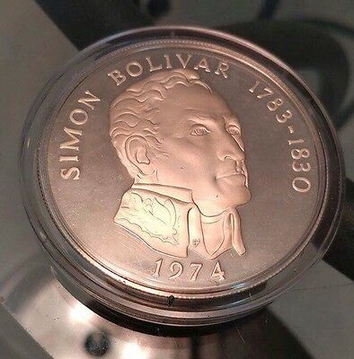 Panama 20 Balboas 1974 Huge Proof UNC 3.83 ASW Sterling Silver