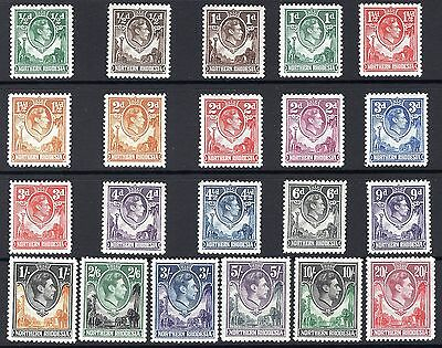 Northern Rhodesia, Set Of 21, Sg25 - 45, Mounted Mint, 1938 - 52