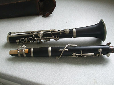 Antique / Vintage Leather Cased Hawkes London Wooden Clarinet
