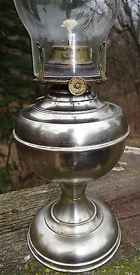 Brass Oil Lamp Antique Victorian Kerosene Banner Burner 1897 Chrome/Nickel