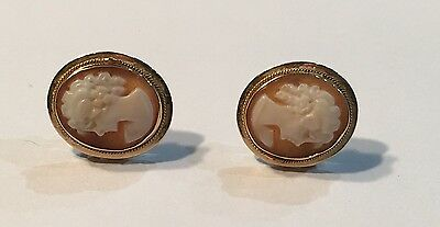 """Vintage Italian 14K Solid Yellow Gold Carved Shell 9/16"""" Cameo Earrings"""