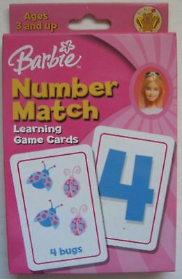 Barbie Number Match Game 2004 Memory Learning Card Game