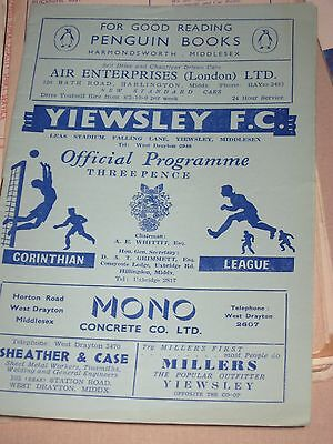 1956-57 Yiewsley v Wembley FA Amateur Cup Replay 27.10.1956