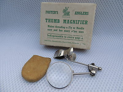 Boxed Vintage Fosters Of Ashbourne Fly Fishing Thumb Magnifer For Tying Flies.