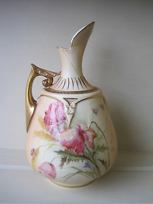 Antique Royal Worcester Blush Jug Hand Painted Flowers c.1906  a/f
