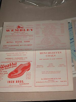 1956-57 Wembley v Edgware Town FA Amateur Cup Replay 6.10.1956