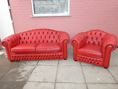 A Red Leather Chesterfield Three Seater Sofa Settee And Matching Club Chair