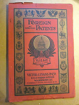 1907 FOREIGN PATENTS Book Victor J.Evans-Nicely Illustrated /Various Countries