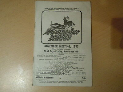 Doncaster Racecard November 4th 1977 - Top Class Runners - See Description
