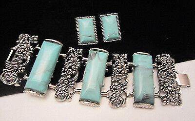 Rare Vtg Selro Ornate Silvertone Faux Turquoise Link Panel Bracelet & Earrings