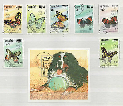 Cambodia Butterflies And Mini Sheet All Used And U/m