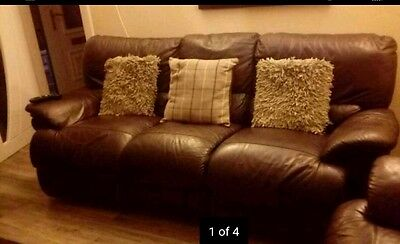 Three Piece Brown Leather Suite plus footstool Good Condition