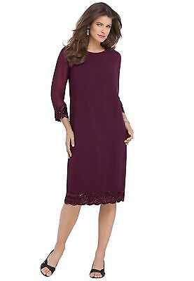 Roaman\'s Beaded Shift Dress Wild Plum Purple Sizes 18W 22W 24W Plus Size