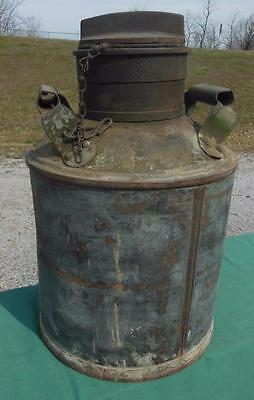 Antique Fuel Can 5 Gallon Galvanized Steel Service Gas Oil Station 5 Gal