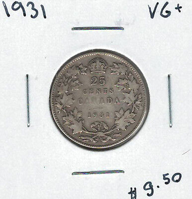 Canada 1931 Silver 25 Cents VG+