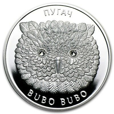 2010 Belarus EAGLE OWL Wildlife Bird, 20 rubles, 1oz Silver, Bubo Bubo