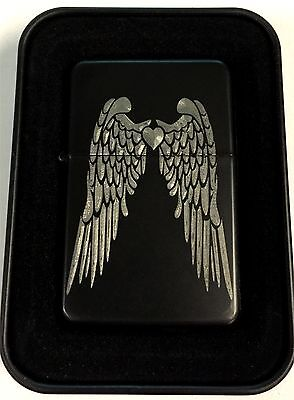 Angel Wings Love Heart Tribal Black Engraved Cigarette Lighter LEN-0216
