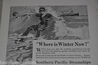 1914 Southern Pacific Steamships advertisement, bathing beauty surf frolicking