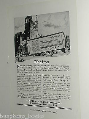 1920 American Express Company advertisement Rheims France WWI tour