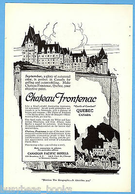 1919 CANADIAN PACIFIC HOTELS advertisement, CPR, Chateau Frontenac, Quebec