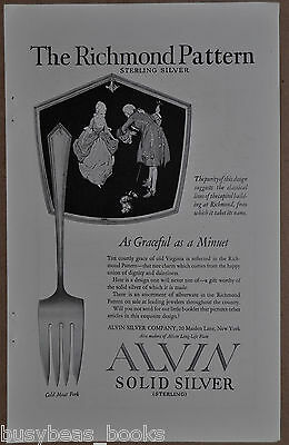 1922 ALVIN SILVERWARE advertisement, Richmond Pattern Sterling Cold Meat Fork