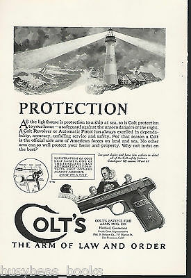 1924 COLT handgun advertisement, Automatic pistol, lighthouse